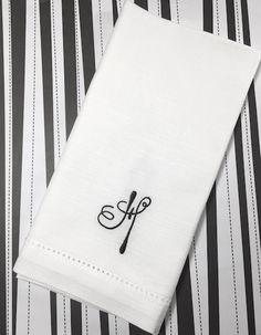 Ink Monogrammed Napkins Ink Embroidered Cloth Dinner Napkins