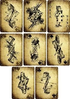 Vintage Inspired Alice in Wonderland Grunge Playing Cards Scrapbooking s 8 Set 2 | eBay