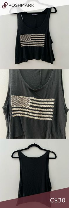 Brandy Melville Tank Top Embroidered American Flag tank top Soft, loose, and light material Only worn a few times 🇺🇸 Brandy Melville Tops Tank Tops Black Crop Top Tank, Striped Tank Top, Cropped Tank Top, American Flag Tank, Brandy Melville Tops, Lace Tank, Racerback Tank Top, Times, Tank Tops