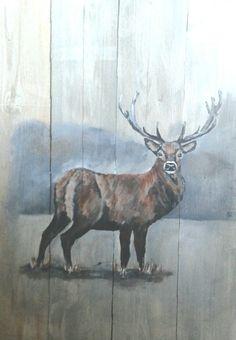 Schilderij hert op hout