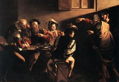 """The Calling of St. Matthew Caravaggio c. 1600 - """"Jesus saw a man named Matthew at his seat in the custom house, and said to him, """"Follow me"""""""" (Matthew 9:9). Painted during the Catholic Reformation, this work of propaganda functioned as a Bible for the illiterate. Our eyes are guided through the scene by a beam of divine light, echoed by a series of gestures pointing towards Matthew, slumped at the table."""