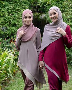Image may contain: 2 people, people standing and outdoor Hijabi Girl, Girl Hijab, Hijab Outfit, Hijab Niqab, Kebaya Dress, Beautiful Muslim Women, Muslim Dress, Muslim Girls, Cute Tops