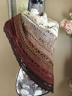 Bruinen Shawl - My favorite completed project!  Made with KnitPicks Palette yarn in autumn colors.