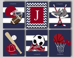 Baby Boy Nursery Art Boys Room Sports Decor Boys Football Art Baseball Art Soccer Art Hockey Art Basketball Art Choose Colors 8 x 10 Prints