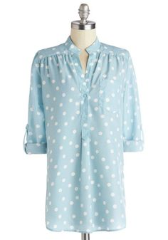 Hosting for the Weekend Tunic in Sky - Woven, Long, Blue, White, Polka Dots, Buttons, Work, Long Sleeve, Spring, Good, Blue, Tab Sleeve