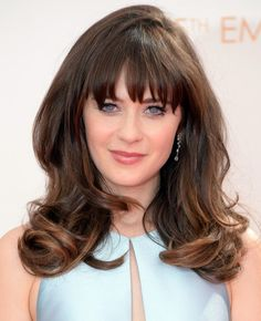 Zooey Deschanel Long Hair style:2014 Angled Waves