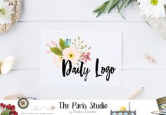 Watercolor floral logo design with brush font for artisan boutique branding, e-commerce website logo, wordpress blog logo,…