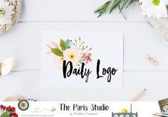 Watercolor floral logo design with brush font for artisan boutique branding, e-commerce website logo, wordpress blog logo,…