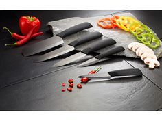 Rosenstein & Söhne schwarzes Keramikmesser-Set // 70€ Neutral, Knife Block, Plastic Cutting Board, Ceramic Knives, Ceramics, Fine Dining, Blade, Cleaning Agent, Nice Asses