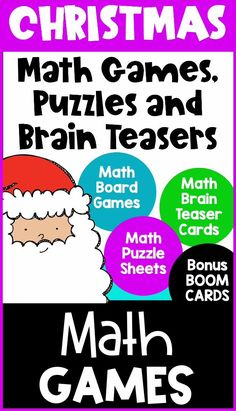 This collection of Christmas math activities is loaded with games, puzzles, brain teasers and two decks of Christmas math Boom Cards. Perfect for December math activities. they are ideal for celebrating Christmas in the classroom. The games, puzzles and brain teasers are printable activities and the Boom Cards are digital activities that can be used on a computer, laptop, tablet or iPad. Ideal for the classroom or distance learning. Great activities for first, second or third grade. Math Board Games, Math Boards, Fun Math Games, Math Activities, Christmas Math Worksheets, Celebrating Christmas, Homeschool Math, Computer Laptop, Brain Teasers