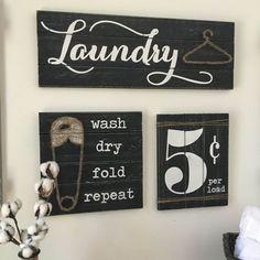 Laundry Sign Set Room Decor Signs Rustic Wood Fixer Upper