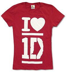 """Juniors One Direction """"I Love 1D"""" Red Baby Doll T-Shirt (Small) http://astore.amazon.com/1dstore-20/detail/B00SX2JM0Q"""