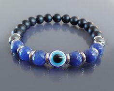 Mens mala bracelet Mens evil eye bracelet w blue by EmpathyGifts