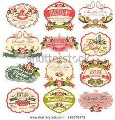 vintage labels with flower by Julie.T, via Shutterstock