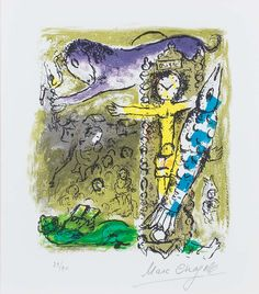 Chagall Hand Signed Color Lithograph | Christ as a Clock