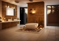 salle de bains contemporaine et spacieuse avec une déco murale en bois pour une ambiance zen agréable
