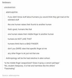 human anthropology being taught to aliens