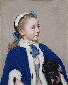 Maria Fredericke van Reede-Athlone at age 7 (and her dog) by Jean-Etienne Liotard (Swiss-French artist, 1702-1789). This has always been one of my favourite portraits of the era. #painting #classic #art #Georgian #1700s