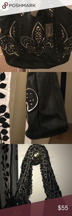 Miss Me Black purse Super cute black Miss Me shoulder purse! Handles have little loose wear but overall in good condition! Very roomy, clean and well taken care of! Bags Shoulder Bags