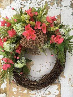 Spring Wreath For Front Door Front Door Wreath Salmon