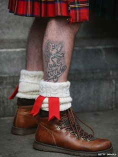 A Scotland fan with lion  tattoo