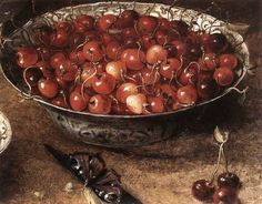 Osias Beert. detail of Still Life with Cherries and Strawberries in Porcelain Bowls. 1608