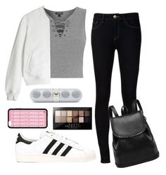 """""""Untitled #40"""" by juliettepep ❤ liked on Polyvore featuring Topshop, adidas, Ström, T By Alexander Wang and Maybelline"""