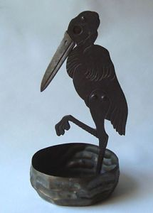 Lovely Ignatius Taschner Art Nouveau Metal Bird Stork Cigar Cutter Jugendstil