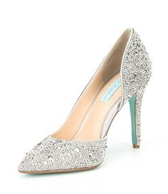 Blue by Betsey Johnson Hazil Jeweled d'Orsay Pointed Toe Stiletto Pumps Silver Wedding Shoes, Wedding Heels, Silver Shoes, Bridal Sandals, Bridal Shoes, Look Fashion, Fashion Shoes, Bridesmaids Heels, Blue By Betsey Johnson
