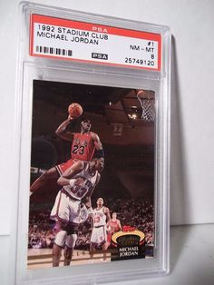 1992 Stadium Club Michael Jordan PSA NM-MT 8 Basketball Card #1 NBA Collectible #ChicagoBulls