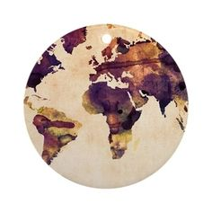 Watercolor World Map Round Ornament by Admin Store - CafePress Vintage Paper, Globe Tattoos, Bullet Stickers, Water Color World Map, Watercolor, Painting, Map Painting, Art, Round Art