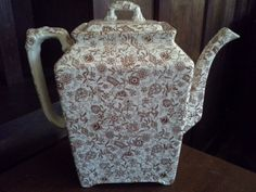 Chintz Pattern Brown Transferware Coffee Pot or Teapot