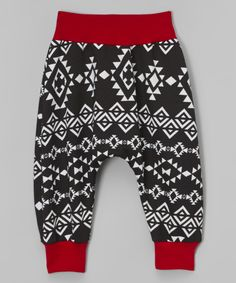 Love this Black Geometric Harem Pants - Infant, Toddler & Kids by Dreaming Kids on #zulily! #zulilyfinds