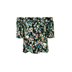 TopShop Retro Floral Smock Bardot Blouse (2.715 RUB) ❤ liked on Polyvore featuring tops, blouses, black, floral top, off shoulder ruffle top, off the shoulder blouse, off shoulder tops and ruffle top