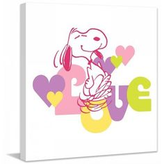Marmont Hill Snoopy Love Peanuts Print on Canvas, Size: 24 inch x 24 inch, Multicolor