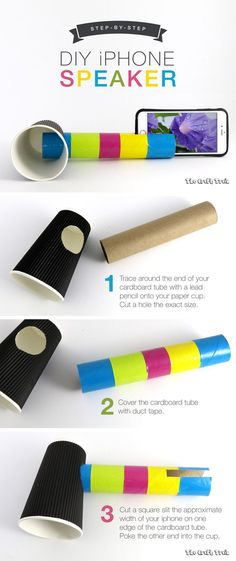 Create a DIY iphone speaker from a cardboard tube and paper cup. This is a fun STEM craft for kids to learn about sound.