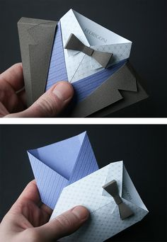 British graphic designer Jonathan Shackleton has produced these origami suits for Italian fine paper company Fedrigoni, primarily to showcase the top quality papers in use side-by-side, 262 choices in total. Slotting in place four samples; different textures, colours, weights, each individual piece is housed in a book sent out to clients who'll assemble the suits themselves. Clever stuff.