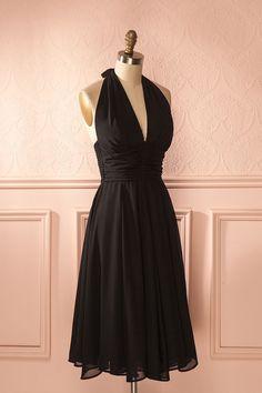 Valencina Dark - Black veil midi halter retro dress