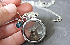 Dandelion Necklace  Dandelion Wish Necklace Owl by CaptureMyArt