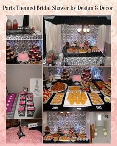 Parissan Themed Bridal Shower by Design & Decor for Nooreen July 2013. Canopy Black & White Damask Decor above Table, customized mini food bites,Party Favors, and Desserts!
