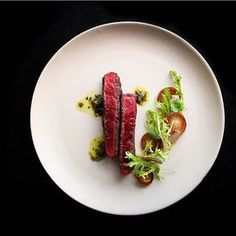 Spring Menu: Sirloin cap steak served with mushroom salt frites and watercress chimichurri with by rafacovarrubias Chef Recipes, Wine Recipes, Food Plating Techniques, Steak Plates, Michelin Star Food, Steaks, Food Decoration, Cata, Molecular Gastronomy