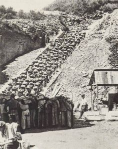 Mauthausen quarry. This is one of the most notorious photos of World War II. Imagine having that rock on your back and then having to wait patiently just for the chance to walk up the stairs and set it down  then walk back down and grab another.