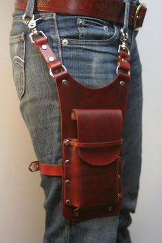 Leather Thigh Phone Pouch by Versalla on Etsy