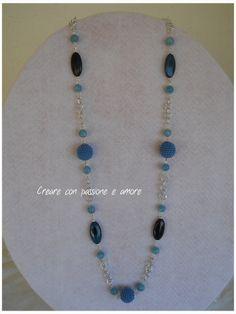 Collana ad uncinetto con perle in vetro by https://www.facebook.com/creareconpassioneeamore/ … … … … … … #crochet #handmade #jewelry #necklace