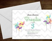 Printable Pinwheel Birthday Invitaion-Print Yourself-Digital Invite