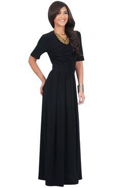 c71923c980 ARYA - Long Elegant Modest Short Sleeve Casual Flowy Maxi Dress Gown