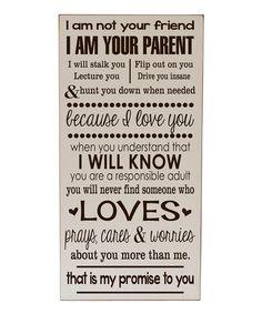 Cream 'I Am Your Parent' Wall Art
