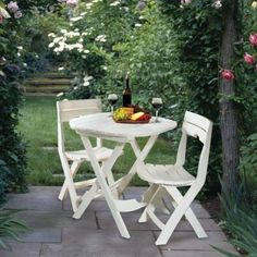 Quik-Fold 3-Piece White Patio Cafe Set-8590-48-3731 at The Home Depot
