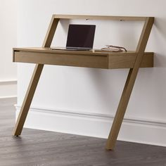 Sale ends soon. Batten brings great design to modular storage, featuring oak veneer components finished in smoky grey and detailed with smart slatting. Small Home Office Furniture, Modern Home Office Desk, New Furniture, Custom Furniture, Modular Office, Multifunctional Furniture Small Spaces, Furniture Ideas, Wall Mounted Desk, Wall Desk