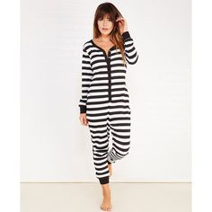 Mjc International  Striped Thermal Onesie ($30) ❤ liked on Polyvore featuring intimates, sleepwear, wet seal and thermal sleepwear